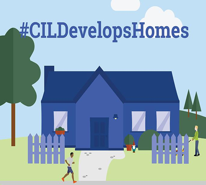 blue house with text #CILDevelopsHomes